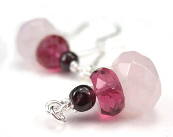 Shaded Pink Threader Earrings Gemstone and Sterling Silver Long Chain Threads