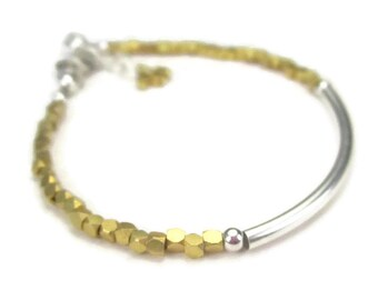 Gold Beaded Bracelet, Sterling Silver Tube Bracelet, Mixed Metal, Gold and Silver
