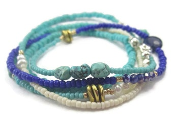 Long Beaded Necklace Gemstone Sterling Silver Boho Wrap Bracelet Pink Lime Turquoise