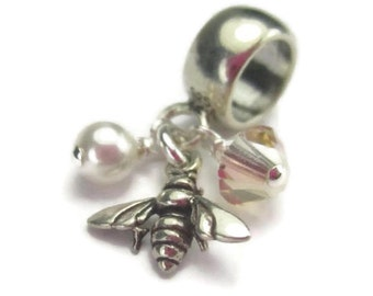 Sterling Silver Bee Charm for European Bracelets, Honey Bee, Bumble Bee Jewelry