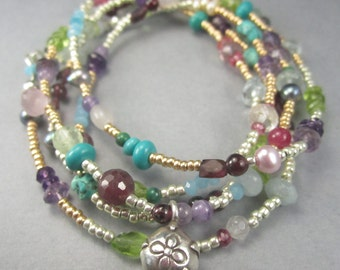 Long Gemstone Necklace in Sterling Silver or Multicolor Boho Wrap Bracelet with Flower Charm