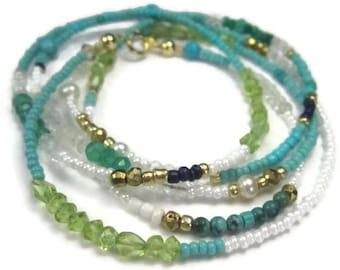 Turquoise Beaded Wrap Bracelet or Long BoHo Gemstone Necklace in Blue Green Gold