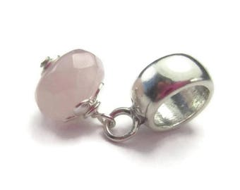 Pink Stone Bead for European Bracelet in Sterling Silver and Rose Quartz, January Birthstone