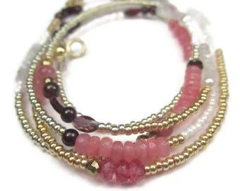 Pink Gemstone Wrap Bracelet or Long Boho Necklace with 14K Gold Filled