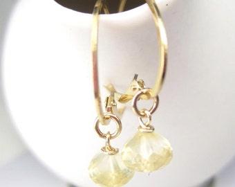 Citrine Earrings Gold Oval Hoop Earrings 14K Gold Filled Leverback Interchangeable November Yellow Gemstone