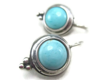 Vintage Earrings with Round Turquoise Blue Stone and Bali Sterling Silver, Cabochon Set Drop