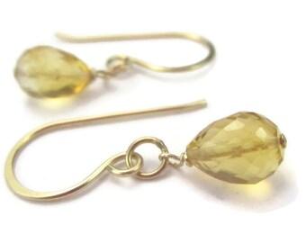 Yellow Gemstone Earrings Small Citrine Earrings 14K Gold Filled November Birthstone Dangle