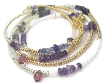 Long Purple Gemstone Necklace Gold and Amethyst Boho Beaded Wrap Bracelet