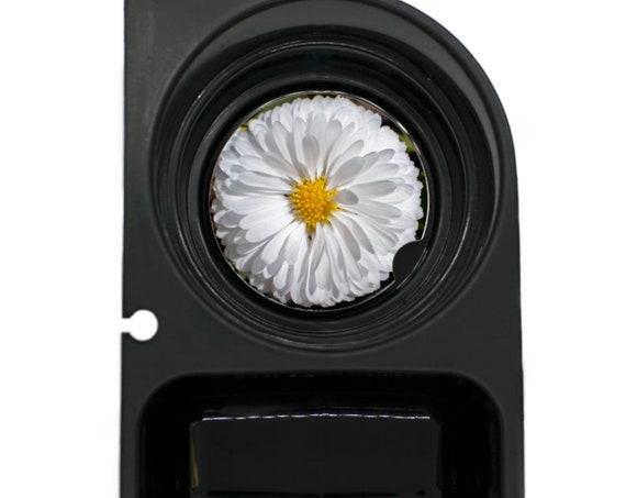 White Daisy Flower Round Sandstone Car Cupholder Coaster