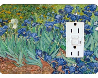 Van Gogh Irises Painting GFI Grounded Outlet Plate Cover