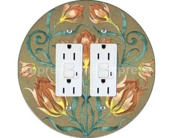 Victorian Floral Double GFI Outlet Plate Cover