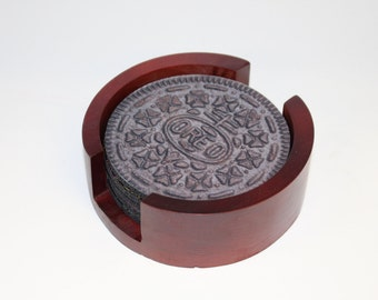 Chocolate Sandwich Cookie Coaster Set of 5 with Wood Holder