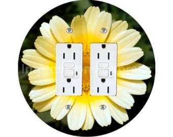 Yellow Daisy Flower Double GFI Outlet Plate Cover