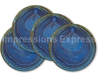 Blue Geode Stone Round Coasters - Set of 4