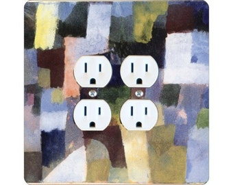 Paul Klee Painting Square Double Duplex Outlet Plate Cover
