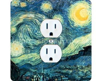 Vincent Van Gogh Starry Night Painting Square Duplex Outlet Plate Cover