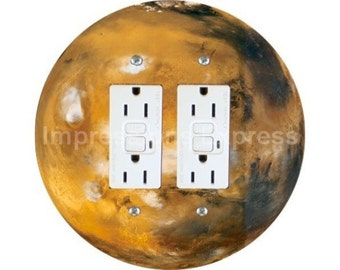 Planet Mars Space Double GFI Outlet Plate Cover
