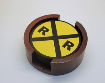 Railroad Crossing Sign Coaster Set of 5 with Wood Holder
