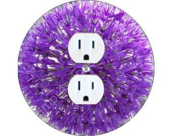 Purple Allium Flower Duplex Outlet Plate Cover
