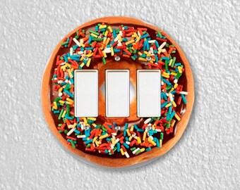 Doughnut Round Triple Decora Rocker Switch Plate Cover