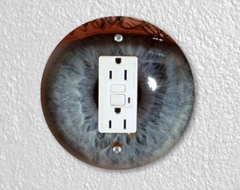 Eye Ball Round GFI Grounded Outlet Plate Cover