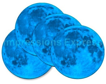 Blue Moon Round Coasters - Set of 4