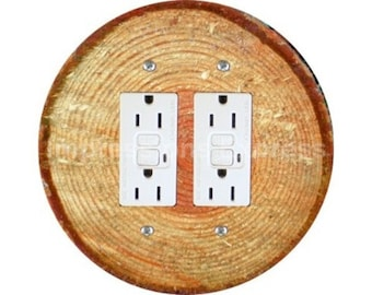 Tree Log Double GFI Outlet Plate Cover
