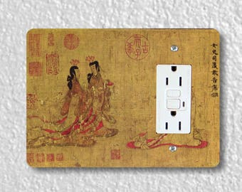 Admonitions Scroll Chinese Painting GFI Grounded Outlet Plate Cover
