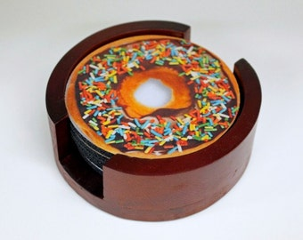 Doughnut Coaster Set of 5 with Wood Holder
