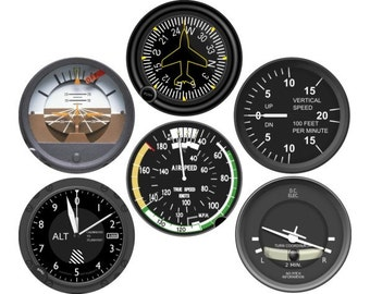 Altimeter Airspeed Attitude Direction Vertical Turn Indicator Aviation Round Coaster Set of 6