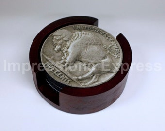 Buffalo Nickel Coin Coaster Set of 5 with Wood Holder
