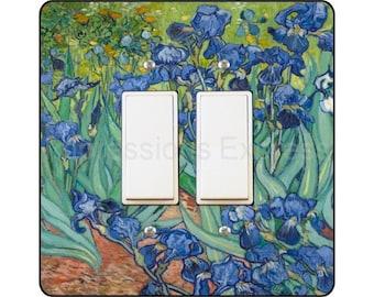 Vincent Van Gogh Irises Painting Square Double Decora Rocker Light Switch Plate Cover