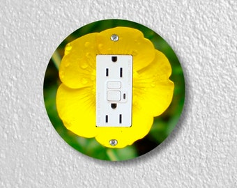 Buttercup Flower Round GFI Grounded Outlet Plate Cover