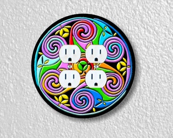 Celtic Triskel Round Double Duplex Outlet Plate Cover