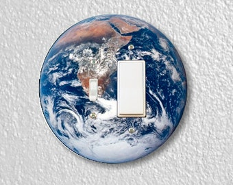Planet Earth from Space Round Toggle and Decora Rocker Switch Plate Cover