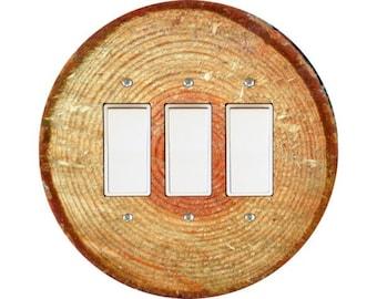 Tree Log Triple Decora Rocker Switch Plate Cover