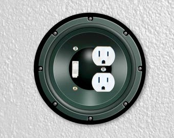 Black Music Loudspeaker Round Toggle Switch and Duplex Outlet Double Plate Cover