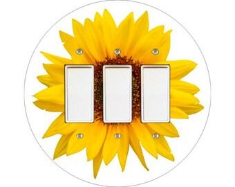 Sunflower Flower Triple Decora Rocker Switch Plate Cover