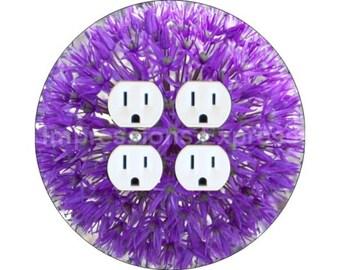Purple Allium Flower Double Duplex Outlet Plate Cover