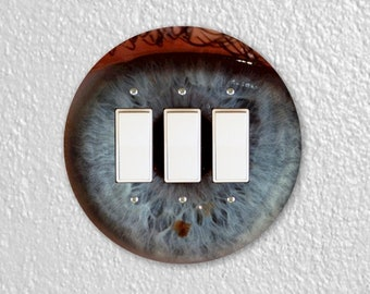 Eye Ball Round Triple Decora Rocker Light Switch Plate Cover