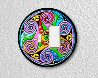 Celtic Triskel Round Toggle and Decora Rocker Switch Plate Cover