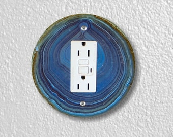 Blue Geode Stone Round Grounded GFI Outlet Plate Cover
