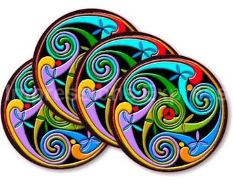 Celtic Triskelion Round Rubber Backed Fabric Coasters - Set of 4