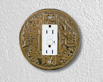 Chinese Fortune Coin Round Grounded GFI Outlet Plate Cover