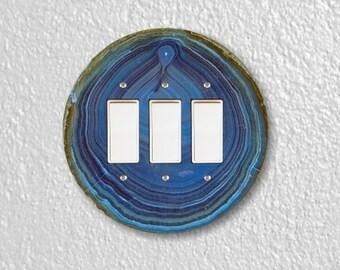 Blue Geode Stone Round Triple Decora Rocker Switch Plate Cover