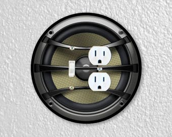 Audio Music Speaker Round Toggle Switch and Duplex Outlet Double Plate Cover