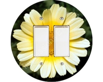 Yellow Daisy Flower Decora Double Rocker Switch Plate Cover