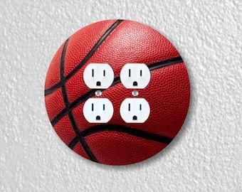 Burgundy Basketball Sport Round Double Duplex Outlet Plate Cover