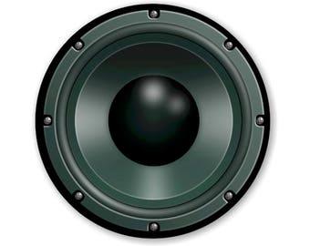 Black Music Loudspeaker Round Mousepad