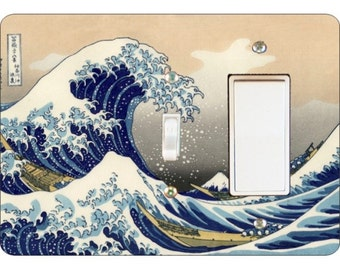 Kanagawa Great Wave Hokusai Painting Toggle and Decora Rocker Double Switch Plate Cover